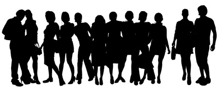 black youth: Vector silhouette of a group of people on a white background.