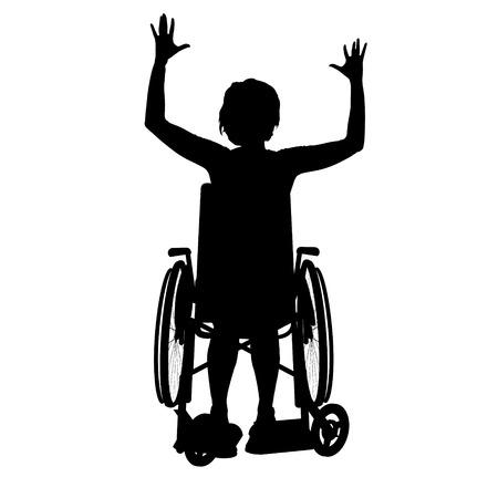 silla de ruedas: Vector silueta de una mujer en una silla de ruedas.