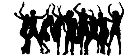 dancing silhouettes: Vector silhouette of a group of people on a white background.