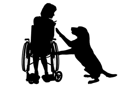 puppy: Vector silhouette of a woman in a wheelchair.