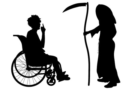 sneer: Vector silhouette of a woman in a wheelchair.