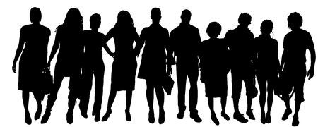 Vector silhouet van een groep mensen op een witte achtergrond. Stock Illustratie