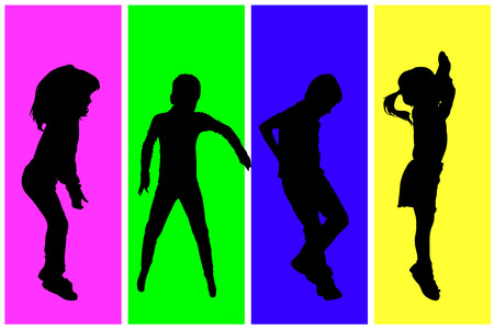 classmate: Vector silhouette of children on a colored background. Illustration