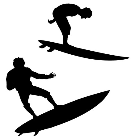 surfers: Black vector silhouette surfer on white background Illustration