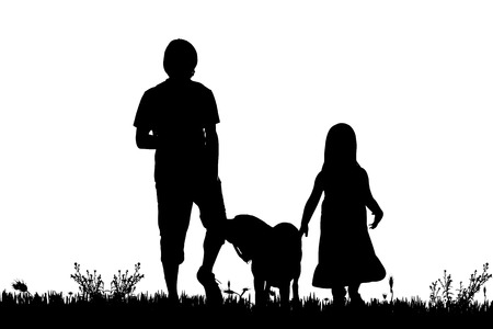 couple hiking: Vector silhouette of the family with dog for a walk.