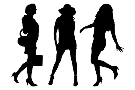 woman shopping bags: Vector silhouette of a women on a white background.