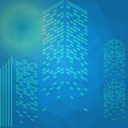 graphic texture: Vector low poly city with various colors.