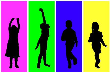 schoolmate: Vector silhouette of children on a colored background. Illustration