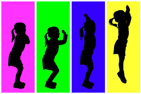 Vector silhouette of children on a colored background. Illustration