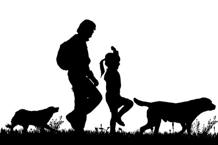 Vector silhouette of the family with dog for a walk.