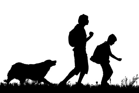 dog run: Vector silhouette of the family with dog for a walk.
