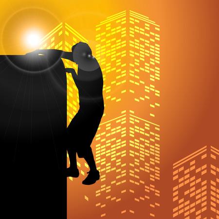 parkour: Black vector silhouette parkour man on white background