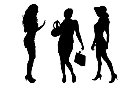 female silhouettes: Vector silhouette of a women on a white background.
