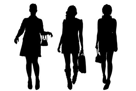 collaborator: Vector silhouette of a women on a white background.