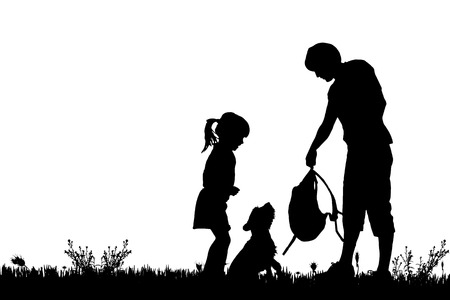 family hiking: Vector silhouette of the family with dog for a walk.