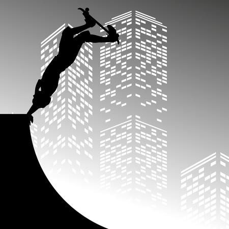 skateboard boy: Vector silhouette skateboarder on grey skyscraper background