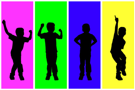 little boys: Vector silhouette of children on a colored background. Illustration