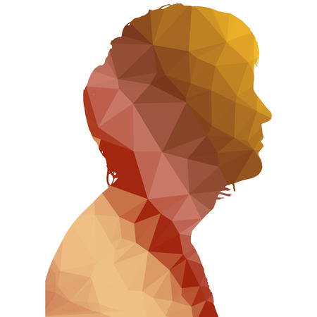 red head: Low poly silhouette man on white background.