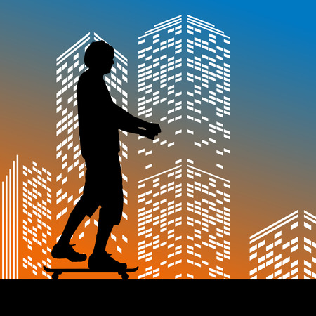 skateboard boy: Vector silhouette skateboarder on color skyscraper background Illustration
