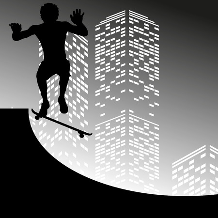 skateboard boy: Vector silhouette skateboarder on grey skyscraper background
