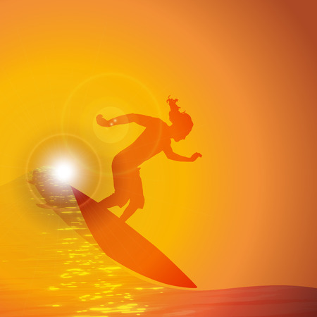 surfer silhouette: Vector silhouette surfer on wave at sunset Illustration