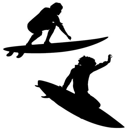 Black vector silhouette surfer on white background Çizim