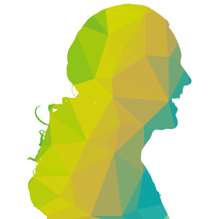 green face: Low poly silhouette man on white background.