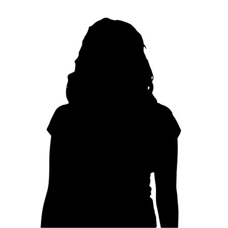 rostro mujer perfil: Vector silueta de una mujer sobre un fondo blanco.