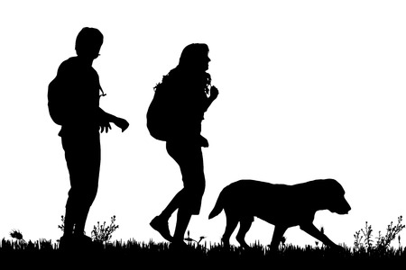 Vector silhouette of a couple with dog for a walk. Illustration