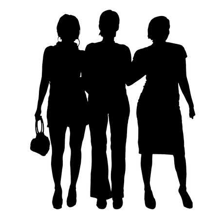 beauty woman: Vector women silhouette on a white background.