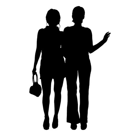 companionship: Vector women silhouette on a white background.