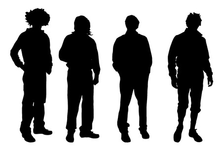 Vector men silhouette on a white background.