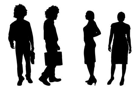 companionship: Vector silhouette of people on a white background. Illustration
