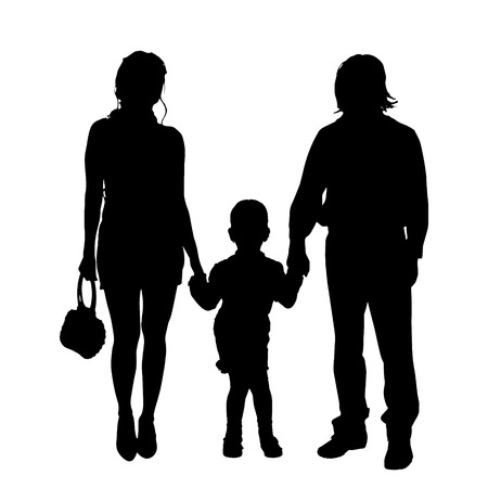 woman walk: Vector family silhouette on a white background.