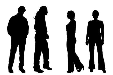 Vector silhouette di persone su uno sfondo bianco. Archivio Fotografico - 45714886