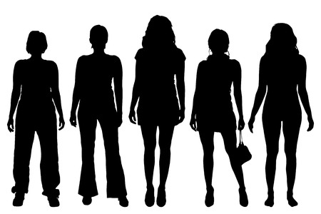 group of young adults: Vector women silhouette on a white background.