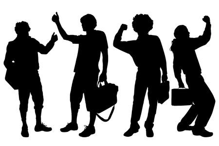 gente exitosa: Hombres vector silueta sobre un fondo blanco. Vectores