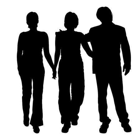 companions: Vector silhouette of people on a white background. Illustration