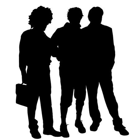 companionship: Vector men silhouette on a white background.