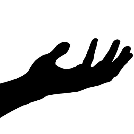 Vector silhouette of a hand on a white background