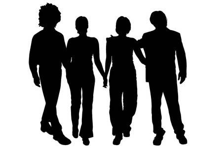 young group: Vector silhouette of people on a white background. Illustration