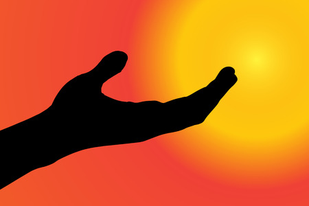 hand silhouette: Vector silhouette of a hand on a sunset.