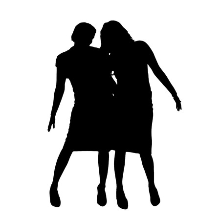companions: Vector women silhouette on a white background.