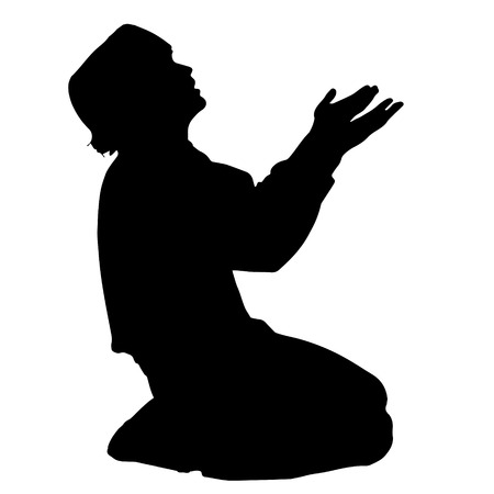 Vector silhouette of a Muslim who prays.