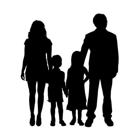 family fun: Vector family silhouette on a white background.