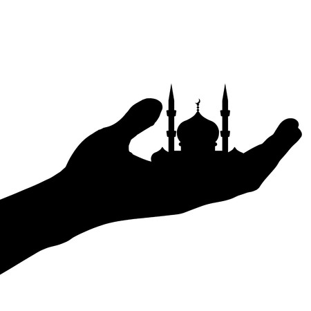hand held: Vector silhouette of a mosque held by hand.