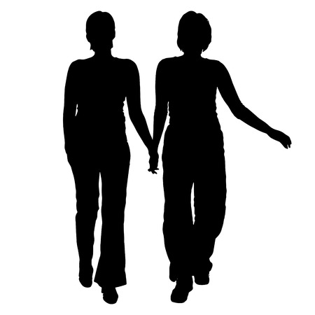 fellowship: Vector women silhouette on a white background.