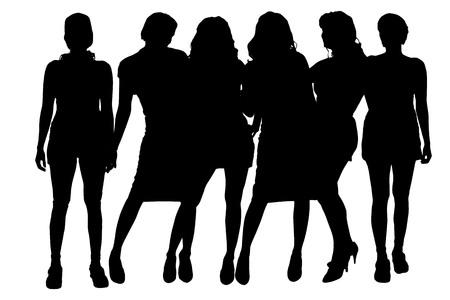 Vector vrouwen silhouet op een witte achtergrond.