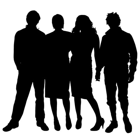 boys girls: Vector silhouette of people on a white background. Illustration