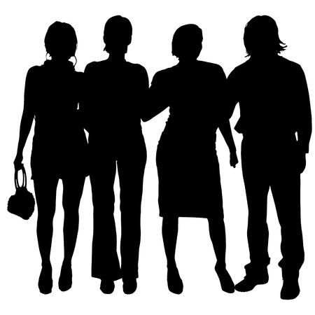 beauty woman: Vector silhouette of people on a white background. Illustration